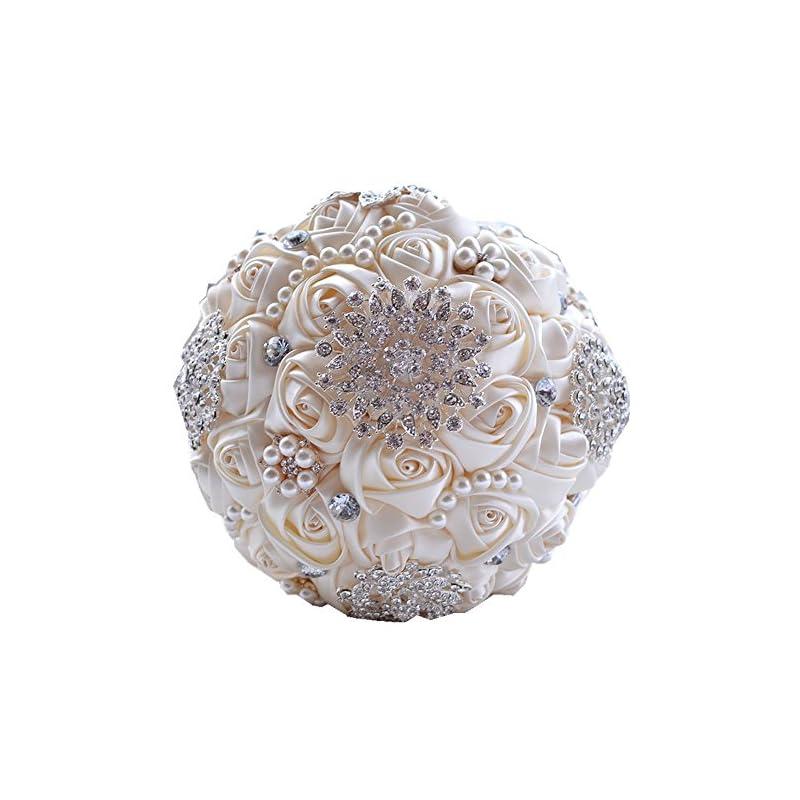 silk flower arrangements jackscale jackcsale wedding bride bridal bouquet brooch bouquet bridesmaid valentine's day bouquet confession (d453 creamy)