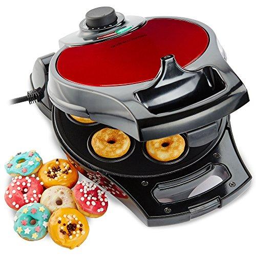 Andrew James Edelstahl Flip & Serve Donut Maker in Rotmetallic mit variabler Temperaturkontrolle - 2 Jahre Garantie