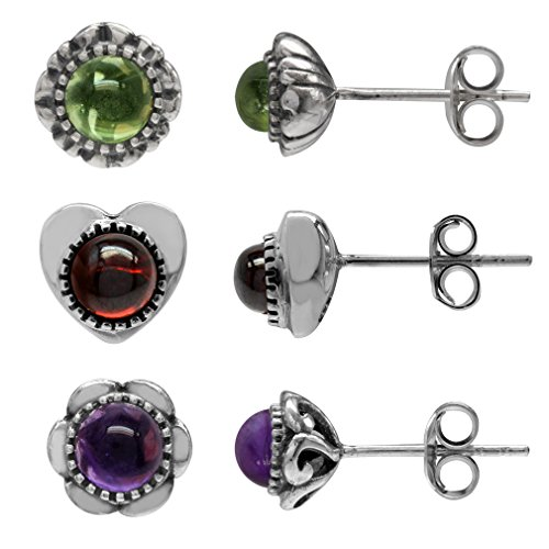 3-Pair Petite Garnet, Amethyst & Peridot Cabochon 925 Sterling Silver Stud Earrings Set ()