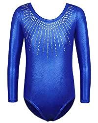 Sleeved Royal Blue Dance Outfit With Rhinestones