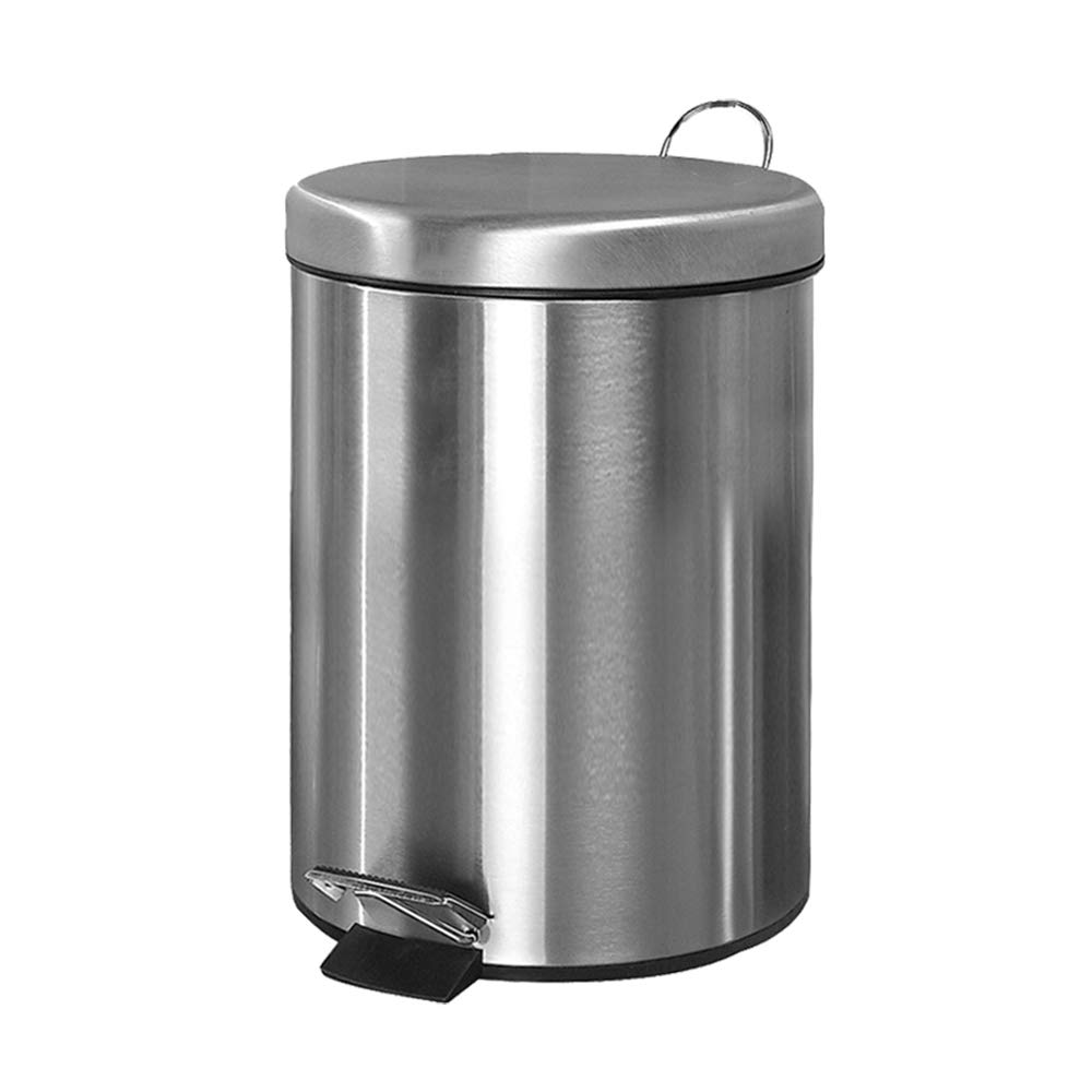 FU LIAN Rash can, Household Pedal, 5L, Round Stainless Steel, Small Foot Rubbish for Bathroom, Toilet, Restroom, Detachable Inner Bucket, Silver by FU LIAN