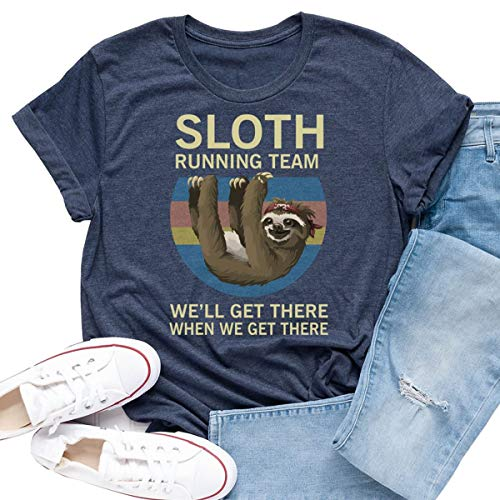 Beopjesk Women's Sloth Running Team Graphic Tees Short Sleeve I Hate People T-Shirts Tops