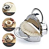 Professional Stainless Steel Dumpling Maker, Ravioli Mold, Dough Press Dumpling Mold, Pierogi Maker Mold, Empanada Maker, Dough Wrapper Cutter, Kitchen Accessories (5.1'' x 3.07'' x 2.28'')