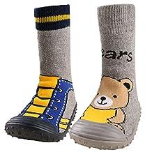 KF Baby Toddler Boys Girls Non-Skid Rubber Slipper Socks Value Pack [Set of 2]