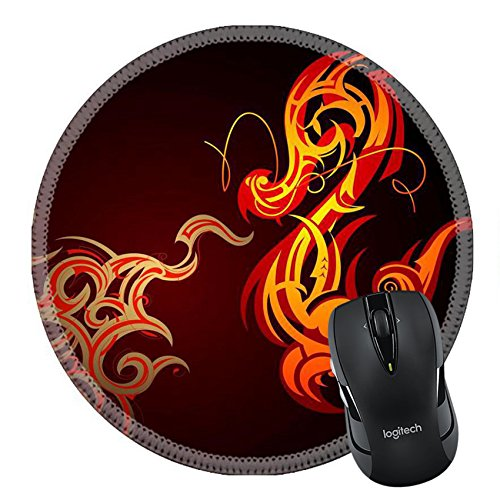 - MSD Natural Rubber Mousepad Round Mouse Pad/Mat: 10571134 Fire breathing decorative dragon shape on black