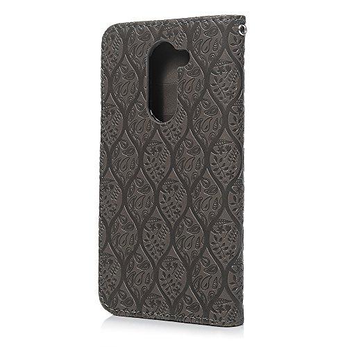 Huawei Honor 6x Handy Schutzhülle, stoßfest Flip PU Leder Wallet Case Floral Vine geprägt TPU mit Standfunktion Kartenfächer Magnetverschluss Folio Notebook Schutz Haut Fall für Huawei Honor 6x grau grau