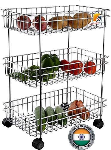 AMAZING MALL (LABEL) Stainless Steel Silver Multipurpose Storage Shelf, Kitchen Rack -Triple Tire Trolley Price & Reviews