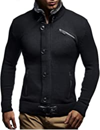 Leif Nelson LN5430 Men's Cardigan Faux Fur Collar