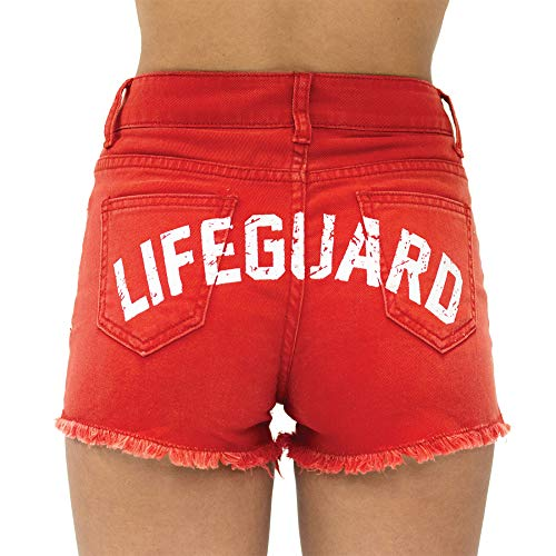 LIFEGUARD Women's Vintage Washed Look Red Denim High Waisted Shorts (S (4/6)) -