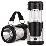 Camping Lantern Flashlight Emergency Light Solar Rechargeable 6 LED Ultra Bright Tent Lamp (black -n)