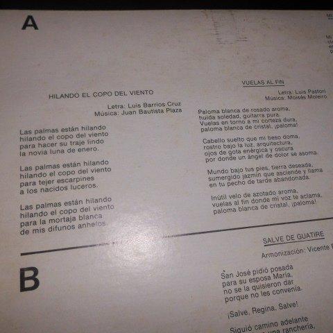 Canciones Venezolanas --> Vinyl Record, CONAC , Vicente Emilio Sojo