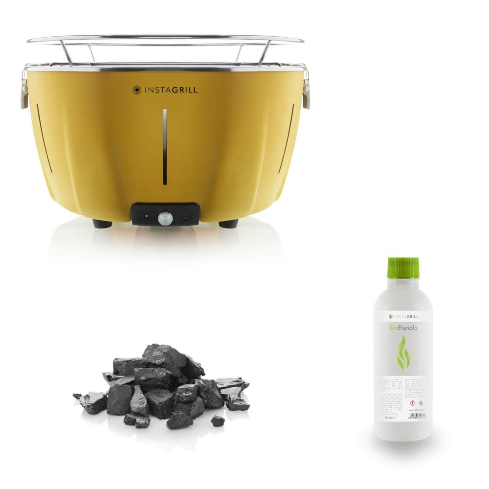 Energie–Grill instagrill gelb mit Kit Ethanol + Holzkohle Cod.80003550