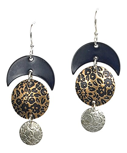 Coyote Circle Earrings - Jody Coyote Earrings QG069 Sapphire Collection crescent moon silver