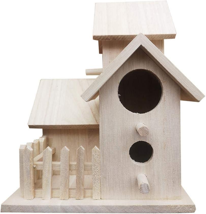 mbition Villa de Nido de pájaro de Madera Natural DIY con construcción de 3 Casas Colgar Birdhouse Casa al Aire Libre o Interior Decoración del hogar