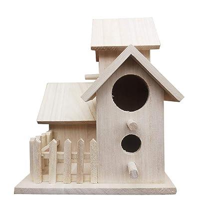 Diy Wooden Bird Nest Garden Birdhouse Feeder Sheltered