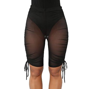 d2496423a3 Yoawdats Women See Through Perspective Sheer Mesh Swimsuit Pants Bikini  Bottom Cover up Shorts (Black