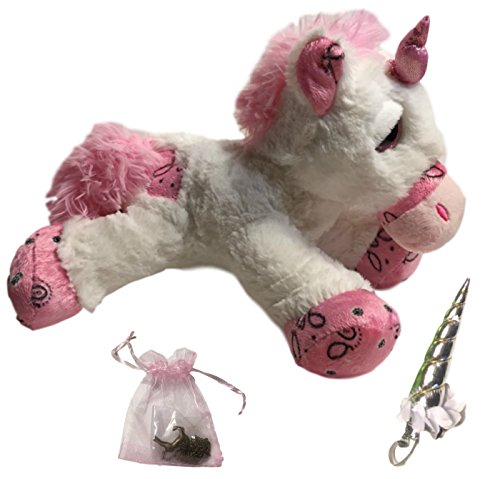 Valentine's Day Gift Unicorn Stuffed Animal White Plush, Headband Silver Necklace Gift Set