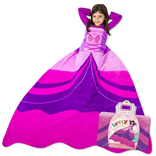 Luvsy Princess Dress Blanket - Throw for Kids, Soft All Season Sleeping Blanket, Perfect Pink Pattern