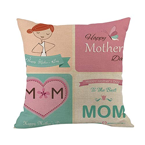 2019,EOWEO Happy Mothers' Day Sofa Bed Home Decoration Festival Pillow Case Cushion Cover(45cm×45cm,Multicolor-P)