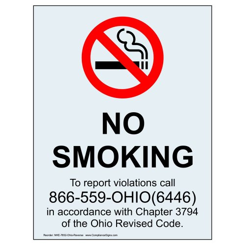 ComplianceSigns Clear Vinyl Ohio No Smoking Window Cling, 5 x 3.5 in. with Front Cling, (Vinyl Cling Signs)
