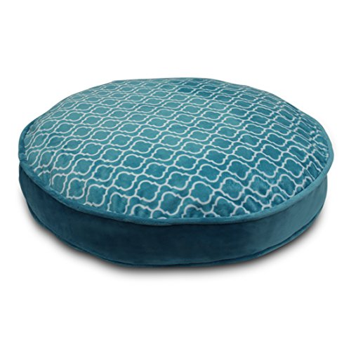 PUP IQ Posh Pup Teal Trellis Round Dog Bed, Modern Teal Floral Pattern, Large Size, Machine Washable, Made in the USA, Premium AdaptaLoft Support by PUP IQ