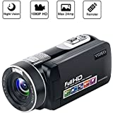 Camcorder Video Camera Full HD Camcorders 1080P 24.0MP Vlogging Camera Night Vision Pause Function with Remote Controller