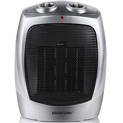 Brightown 750W/1500W ETL Listed Quiet Ceramic Space Heater with Adjustable Thermostat, Portable Electric Heater Fan with Overheat Protection (Best Portable Electric Heater For Large Room)
