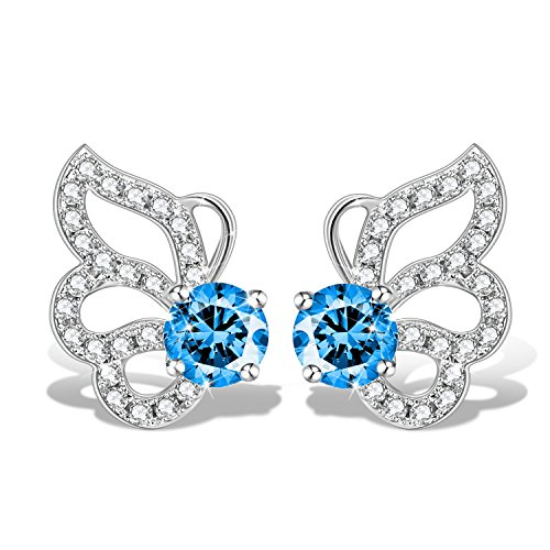 GUNDULA Christmas Jewelry Gifts Packing Women Sterling Silver Blue Cute Butterfly Stud Earrings for Girls