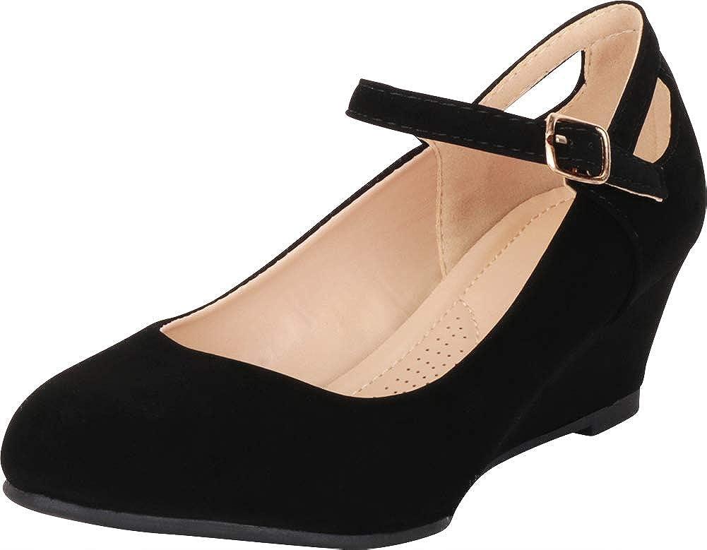Black Nbpu Cambridge Select Women's Round Toe Mary Jane Cutout Comfort Low Wedge