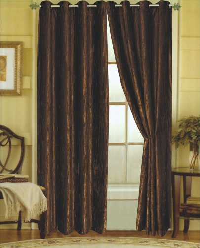 Editex Home Textiles Susane Crushed Velvet Curtain Panel with Grommet, Chocolate, Set of 2