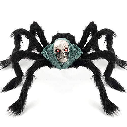 Really Scary Halloween Props (Coogam Halloween Giant Spider Decoration, Large Jumbo Horror Skeleton Spider Prank Prop Scarf Foam Props for Indoor Outdoor Yard Scary Realistic Araneid Hallowmas Party Supplies Décor ( 2.3Ft)