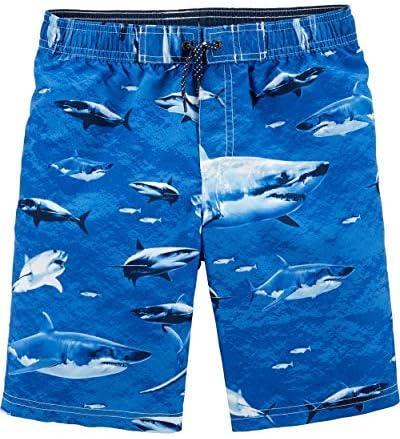 Little Boys' Swim Trunk Sharks/Blue 10-12 [並行輸入品]