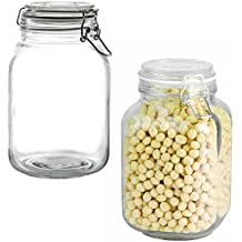 Anchor Hocking2 Pack 67oz Glass Jars Airtight Hinged Hermes Lids Kitchen Storage Canisters