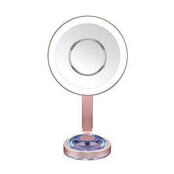 Espejo de Maquillaje con luz y 10 aumentos Espejo Redondo con l/ámparas LED iluminaci/ón LED de luz Diurna fijaci/ón Segura Jolie /® orientable 360/°