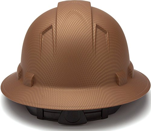 Full Brim Hard Hat, Adjustable Ratchet 4 Pt Suspension, Durable Protection safety helmet, Graphite Pattern Design, Copper Matte, by Tuff America by Tuff America