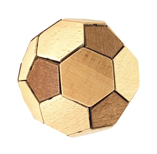 4d Adult Football (Arsmt Puzzles 3D Wooden Football IQ Test Intelligence Jigsaw Logic Brain Teaser Educational Toy Kong Ming Lock for Kids,Teens and Adults)