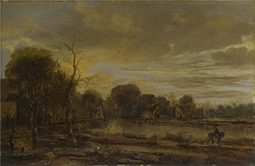 Perfect Effect Canvas ,the Amazing Art Decorative Prints On Canvas Of Oil Painting 'Aert Van Der Neer A River Landscape With A Village ', 24 X 37 Inch / 61 X 93 Cm Is Best For Game Room Decoration And Home Artwork And Gifts (Masterpiece Board Game 1970 compare prices)