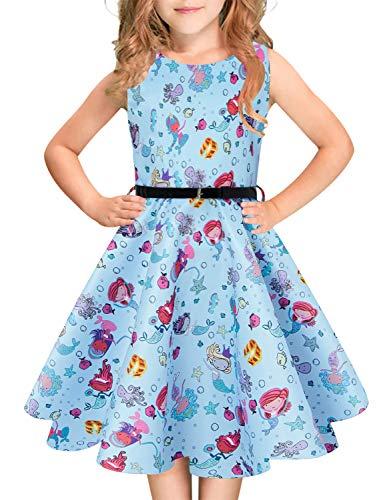 Funnycokid Girl Mermaid Sleeveless Dresses 50s Retro Pleated Twirl Party Dress 10T -