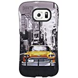 Galaxy S6 Case, Urban Oil Painting Ultra Armor Shock Absorbing Heavy Duty Case + Tempered Glass Screen Protector for Samsung Galaxy S6 - Orange Car