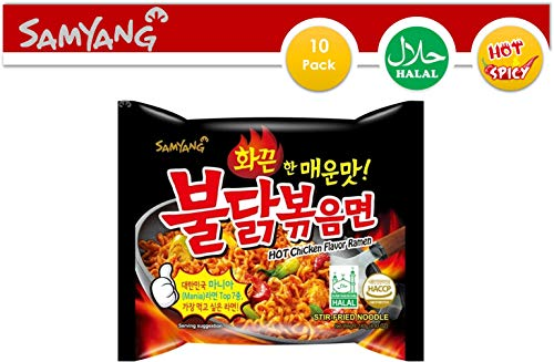 (Samyang Instant Ramen Noodles, Halal Certified, Spicy Stir-Fried Chicken Flavor (Pack of 10))