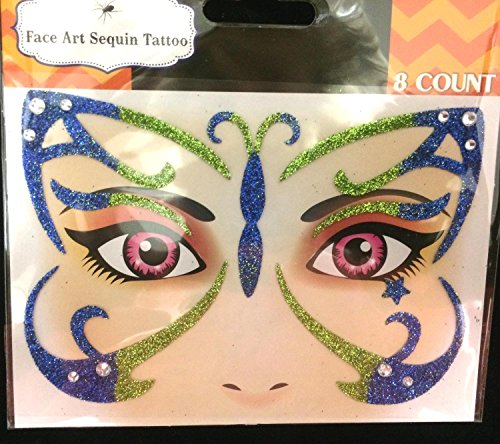 Face Art Glitter Temporary Tattoos Costume Instant Makeup Eye Decal-Choose Style(HH-G89936-BUTRFLY)