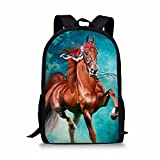 Showudesigns Designer Horse Horse Backpack for School Kids Back Pack