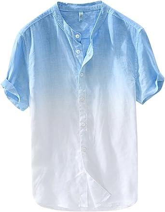 Camisa De Manga Corta Hombre Casual Sin Cuello Camisas De Lino Playa: Amazon.es: Ropa y accesorios