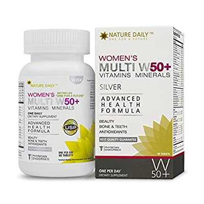 Nature Daily Women's Multi W 50 Plus Vitamins Minerals, Advanced Health Formula, One A Day, 60 Tablets, Whole Food Multivitamins, Supplements