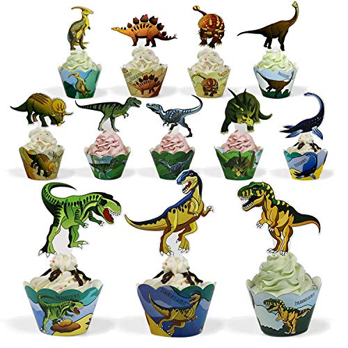 BeeGreen Dinosaur Party Supplies Cupcake Toppers and Wrappers 24 Pack Cupcake and Cake Decrorations for Kids Boys Birthday ()