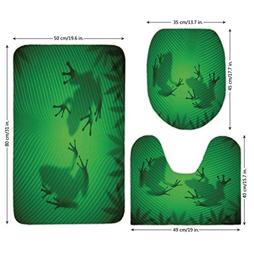 Malibu Frog Light - 3 Piece Bathroom Mat Set,Animal Decor,Frog Shadow Silhouette on the Banana Tree Leaf in Tropical Lands Jungle Light Games Graphic,Green,Bath Mat,Bathroom Carpet Rug,Non-Slip