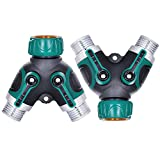 Zaojiao 2 Way Y Hose Connector ,Garden Hose Splitter Fits with Outdoor Faucet, Sprinkler & Drip Irrigation Systems (2 Pack)