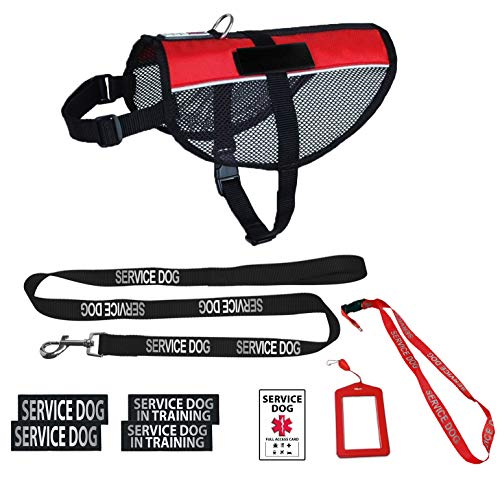 (Dogline Service Dog Vest Harness Bundle (Official Red) | Service Dog Reflective Leash & Patches | Service Dog in Training Set | Service Dog ADA ID/w Holder & Lanyard for Travel Support Therapy Dogs)