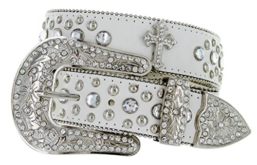 Western Crystal Rhinestone Cowgirl Studded Black Leather Cross Concho Belt (40, White)