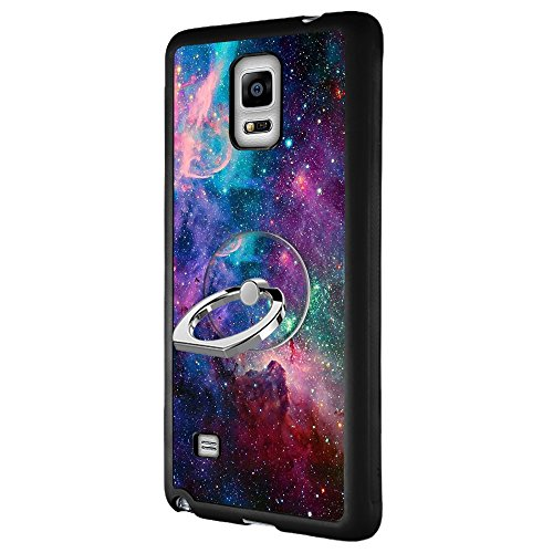 Samsung Galaxy Note 4 Case with Ring Holder Stand Space Galaxy, YC Hongda Series - Ultra Slim Luxury Case Cover With 360 Rotating Ring Grip/Stand Holder/Kickstand For Samsung Galaxy Note 4, black (Dmix Case)